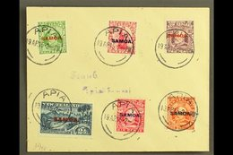 """1915 KEVII New Zealand Overprints, Complete Set On Small Plain Cover, SG 115/21, Each With Strike Of """"APIA"""" 19.4.15 Pmk. - Samoa"""