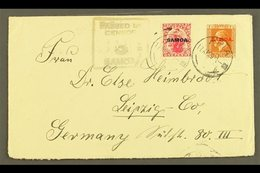 "1920 Plain Cover To Germany, Sent 2½d Rate, Franked 1d & KGV 1½d , SG 116, 136, Apia 17.04.20 Postmarks, Censor ""3"" Cach - Samoa"