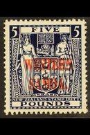 "1941 - 2 £5 Indigo - Blue Arms, Wmk ""single NZ And Star"", On Wiggins Paper, SG 194d, Fine Mint. Rare And Attractive Stam - Samoa"
