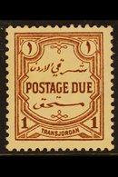 POSTAGE DUE 1929-39. 1m Red Brown, P 13½ X 13, SG D189a, Fine Mint For More Images, Please Visit Http://www.sandafayre.c - Jordan