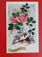 CPA Paysage De Neige Et Deux Roses En Ajoutis Peintes à La Main      Ref 553 - Flowers, Plants & Trees