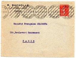 PARIS XIX / Av Jean Jaurès 1927 = FLAMME PROTOTYPE RBV MUETTE  ' 8 Lignes Obliques Inégales  ' DREYFUSS B19406 Cote 100€ - Postmark Collection (Covers)