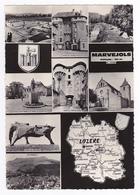 48 Marvejols N°8 Souvenir En 8 Vues Hôtel Du Cheval Rouge Gravejat Bête Du Gévaudan Plan De La Lozère édit Combier - Marvejols