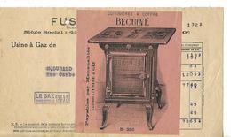 Facture 1/2 Format 1928 / PARIS / Fusion Des Gaz / Pub Cuisinière BECUVE Paris / Lampes VISSEAUX Lyon - France