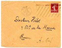 PARIS 83 RUE BLEUE 1930 = FLAMME KRAG MUETTE  ' 11 Lignes Inégales En Oblique ' Sur Enveloppe Entière - Postmark Collection (Covers)