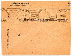 PARIS CHEQUES POSTAUX 1929 = FLAMME PROTOTYPE RBV MUETTE  ' 8 Lignes Droites Inégales  ' DREYFUSS D 021 Cote 100€ - Postmark Collection (Covers)
