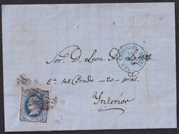 1864. MADRID. CORREO INTERIOR. 2 CUARTOS AZUL ED. 63 MAT. PARRILLA. FECHADOR. MUY BONITA CARTA COMPLETA. - 1850-68 Reino: Isabel II