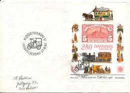 Denmark FDC Miniature Sheet International Stamp Exhibition Hafnia 87 27-8-1987 Including The Ticket - Philatelic Exhibitions