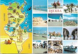 Afrique - Carte Géographique De La Tunisie - DJERBA- 12 Vues 1 Timbre Philatélique Au Verso - Voir Scan - Cpm - écrite - - Tunisia