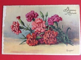 """CPA Fleurs Oeillets Roses Et Rouges """"Bonne Année"""" Ref 391 - Flowers"""