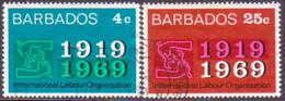 BARBADOS 1969 SG #390-91 Compl.set Used Int. Labour Organisation - Barbados (1966-...)