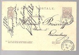 1880 LUX-GARE Michel P30 To Breisdorff Libraire (540) - Entiers Postaux