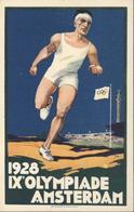 CPA Officielle Jeux Olympiques 1928 IX E Olympiade Amsterdam Anneaux J Enschedé En Zonen Haarlem Coureur Sprinter - Olympic Games