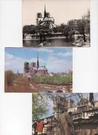 Carte Postale Publicité Pelletier Notre-Dame Les Bouquinistes + Carte Yvon Paris En Flanant La Cité Notre Dame (3 Cartes - Publicité