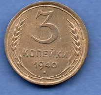 Russie --  3 Kopeks 1940 -  Km # 107 -  état  TTB+ - Russia