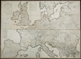 """Año 1798. Mapa """"Nouvelle Carte Des Routes Des Postes Dans Diferentes Estats De L'Europe"""" - Spanje"""