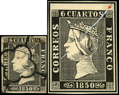 """Ed. 0 1 - 6 Cuartos. Plancha I. Tipo 15. Variedad """"rotura Cliché Diagonal"""". Espectacular Y Rara Pieza - 1850-68 Koninkrijk: Isabella II"""