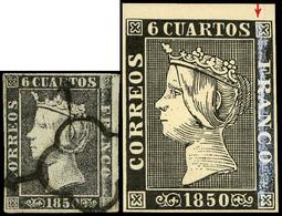 """Ed. 0 1 - 6 Cuartos. Plancha I. Tipo 12. Variedad Importante Defecto Impresión Con Cartucho Derecho """"Franco"""" - 1850-68 Royaume: Isabelle II"""