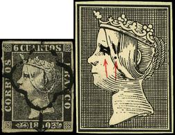 """Ed. 0 1 - 6 Cuartos. Plancha I. Tipo 19. Variedad Importante Retoque En """"ojo De La Reina"""" - 1850-68 Koninkrijk: Isabella II"""