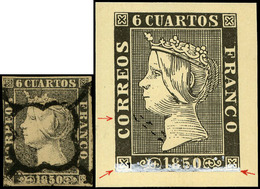Ed. 0 1 - 6 Cuartos. Plancha I. Tipo 20. Variedad Importante Retoque Plancha En Cartucho Inferior. Preciosa Y Muy Rara - 1850-68 Koninkrijk: Isabella II