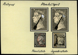 Ed. 0 1 - 6 Cuartos. Plancha I. Tipo 9. Conjunto De 2 Sellos Retoques En Plancha (en Moño De La Reina,…) - Oblitérés