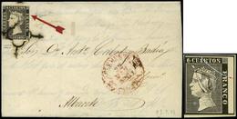 """Ed. 1 - 6 Cuartos. Plancha I. Tipo 14. Carta Cda De San Clemente A Albacete. Sello Con Variedad """"rotura Cliché Diagonal"""" - 1850-68 Royaume: Isabelle II"""