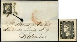 """Ed. 1 - 6 Cuartos. Plancha I. Tipo 6. Carta Cda De Barcelona A Valencia. Sello Con Variedad """"defecto Impresión…"""" - 1850-68 Koninkrijk: Isabella II"""