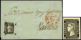 """Ed. 1 - 6 Cuartos. Plancha I. Tipo 18. Carta Cda De Murcia A Valencia. Sello Con Variedad """"doble Impresión…"""" - Oblitérés"""
