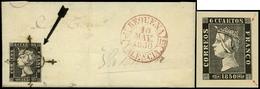 """Ed. 1 - 6 Cuartos. Plancha I. Tipo 24. Carta Cda De Requena A Valencia. Sello Con Variedad """"doble Impresión…"""" - 1850-68 Koninkrijk: Isabella II"""