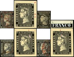 Ed. 0 1 - 6 Cuartos. Lote De 10 Sellos Con Diversas Variedades Y Retoques De Plancha. Muchos No Reseñados - 1850-68 Koninkrijk: Isabella II