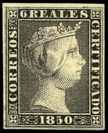 Ed. * 4 - 6 Reales. Prueba De Punzón 6 Reales En Negro (Galvez 3).Pieza Excepcional Rareza . - 1850-68 Koninkrijk: Isabella II