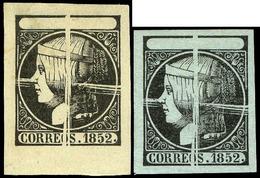 2 Valores Pruebas Punzón Limado. 2 Valores En Papel Blanco Y Papel Azul (Galvez 26-27) - 1850-68 Royaume: Isabelle II