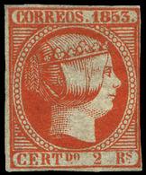 Ed. * 19 - 2 Reales Bermellón. Buen Ejemplar De Colección Con 3 Amplios Márgenes Y Margen Derecho Justo - 1850-68 Royaume: Isabelle II