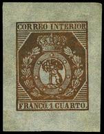 Galvez 42 - 1 Cuarto Bronce. Márgenes Grandes. Preciosa Y Muy Rara Pieza. Cert. GRAUS - 1850-68 Koninkrijk: Isabella II