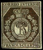 Ed. * 23 - 3 Cuartos. Muy Buen Ejemplar. Color Intenso, Pese Muy Ligero Corte En El Margen Derecho - 1850-68 Royaume: Isabelle II