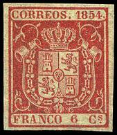 Ed. * 24 - 6 Cuartos Carmín. Ejemplar De Lujo Por Sus Amplios Márgenes Y Color Muy Intenso . Cert. CEM. Cat. +455€ - 1850-68 Royaume: Isabelle II
