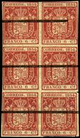 Ed. ** 24Ma - 6 Cuartos. Bloque De 6 Con Goma Original Y Raya Horizontal Tinta Negra. Procedente De La Hoja Muestra - 1850-68 Royaume: Isabelle II