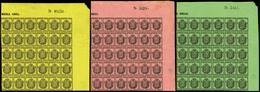 Ed. ** 28/30 - Correo Oficial. 3 Valores (1/2 Onza + 1 Onza + 4 Onza) En Bloque De 30 Ejemplares. Esquina De Pliego - 1850-68 Royaume: Isabelle II