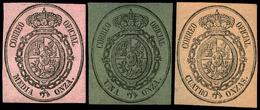 3 Valores 1855. Correo Oficial. Conjunto De 3 Valores En Colores Diferentes (1/2 Onza Sobre Rosa, 1 Onza Sobre Verde… - 1850-68 Royaume: Isabelle II
