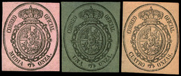 3 Valores 1855. Correo Oficial. Conjunto De 3 Valores En Colores Diferentes (1/2 Onza Sobre Rosa, 1 Onza Sobre Verde… - Oblitérés