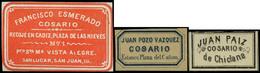 3 Etiquetas 1855. Cosarios. Conjunto De 3 Etiquetas Distintas Empresas (Fco. Esmerado, Juan Paiz, Juan Pozo) - 1850-68 Royaume: Isabelle II