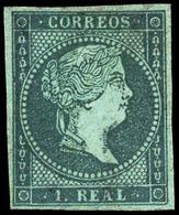 Ed.* 41 - 1 Real Azul. Filigrana Lazos. Ejemplar De Lujo Por Sus Amplios Márgenes Y Color Muy Fresco. - 1850-68 Royaume: Isabelle II