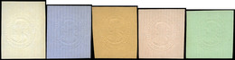 Galvez 134/8 - Proyecto No Adoptado Con Efigie Isabel II. Estampación En Seco En Relieve Sobre Papeles De Colores - Oblitérés