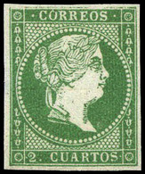 Ed. * 47b - 2 Cuartos Verde Oscuro. Precioso Ejemplar Por Sus Amplios Márgenes Y Color Muy Fresco. Cat. 875€ - Oblitérés