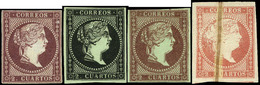 * 4 Valores - 2 Cuartos. Conjunto De 4 Sellos Ensayos De Color (2 Cuartos Castaño Violeta + 2 Cuartos Negro…) - 1850-68 Royaume: Isabelle II