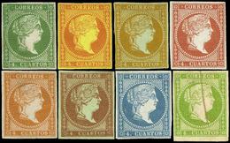 * 8 Valores 4 Cuartos. Ensayos De Color Y Papel. Precioso Y Escaso Conjunto - 1850-68 Royaume: Isabelle II