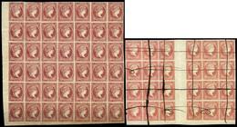 Ed. **/0 48+48C - 1856/1859. 4 Cuartos. Conjunto Formado Por 6 Bloques (48 En Bl. De 12, Cabecera De Pliego…) - 1850-68 Koninkrijk: Isabella II