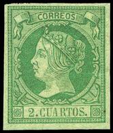 Ed. * 51 - 2 Cuartos Verde. Precioso Ejemplar Por Sus Amplios Márgenes Y Color Fresco. Certificado GRAUS. Cat. 475€ - 1850-68 Royaume: Isabelle II