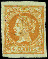 Ed. * 52F - 4 Cuartos. Falso Postal (tipo 61-XI-Graus). Marquillado. Raro Tipo - 1850-68 Royaume: Isabelle II