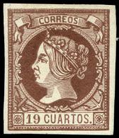 Ed. * 54 - 19 Cuartos. Ensayo De Color Sobre Cartulina Blanca. 19 Cuartos Castaño Violáceo. Marquillado Roig - 1850-68 Royaume: Isabelle II